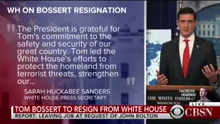 Homeland Security Adviser Tom Bossert to resign from White House at the request of Bolton - Video