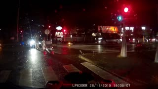 Cyclist Runs Red Light and Causes Traffic Chaos