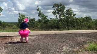 Father Embarrasses Kiddos with Flamingo Costume