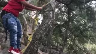 This Guy's Attempt At Rope Swinging Lands Him Right On The Rocks - Video