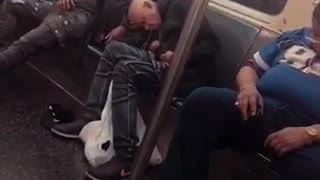 Three guys in a row asleep on subway train - Video