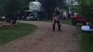 Jousting while riding on friends back using beer cans and boxes as armor - Video