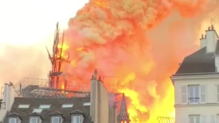 Burning Notre Dame Spire Collapses in Flames