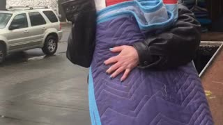 Woman Tries Walking Away with Moving Pads