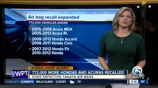 Honda adds 772,000 vehicles to ongoing air bag recall - Video