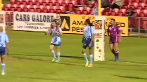 Four year old boy scores try against Australian legends
