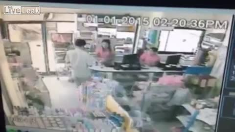 Crazy Women Crashes into Gas Station Checkout!