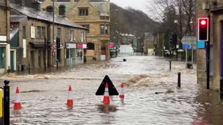 English Town Flooded from Powerful Storm