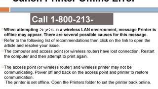 1-800-213-8289 Canon Printer Offline Error - Video