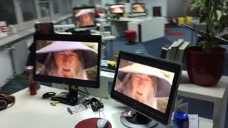 """The Lord of the Rings """"Gandalf nod"""" office prank"""