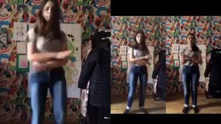 Girl makes a dance chain on tiktok