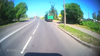 Truck Swerves to Avoid Hitting Absentminded Driver