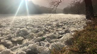 Flowing Ice Water River - Video