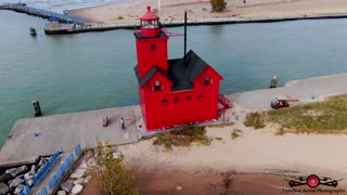 Stunning Fall Colors Holland, Michigan's Big Red Lighthouse Drone Footage 4K Must See