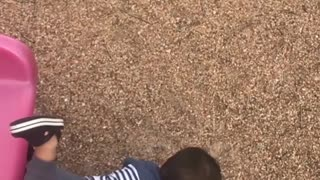 Collab copyright protection - toddler boy red slide faceplant fail