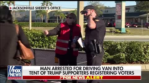 Florida man arrested for driving van into GOP tent