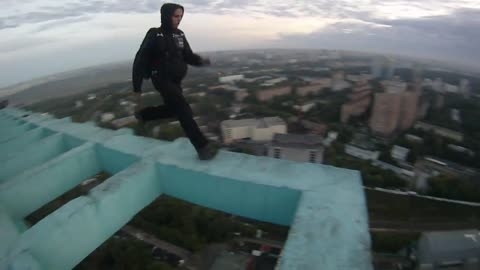 Extreme first-person BASE jumping footage