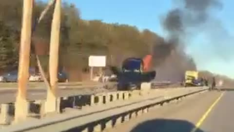 Spectacular Three Car Accident on Fire