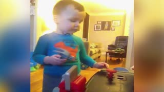 Cute Kid Finds New Place To Hide His Toys - Video