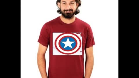 Captain America Printed Black T Shirt