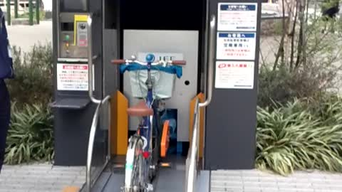 Futuristic bicycle parking system in Japan