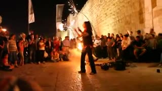Girls juggling with fire, at the Jerusalem Festival of Lights - Video