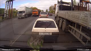Reckless Truck Driver Causes Accident At Pedestrian Crossing