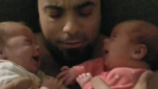 New Dad's Priceless Reaction To Crying Baby Twins