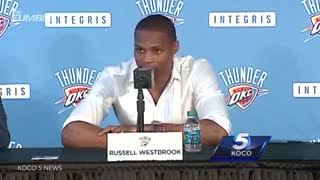 Russell Westbrook Takes Dig At Kevin Durant During OKC Thunder Press Conference - Video