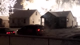 Heavy Snow Causes a Power Line Fire - Video