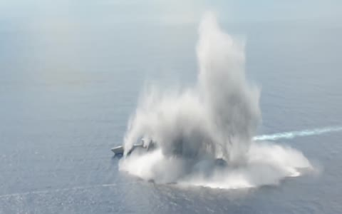 US Navy tests 10,000 pound explosives against new warship