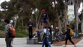 UCSD Student trolls homophobic preacher on campus - Video
