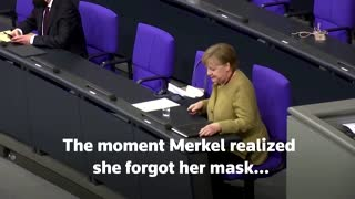 Merkel panics after forgetting face mask