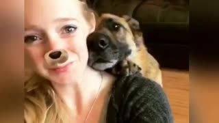 German Shepherd Takes A Selfie With Owner On Her Command