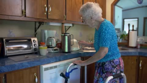 100-year-old Eva wakes up between 3-4 and heads for her sewing machine