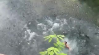 Double gainer back flip belly flop from cliff - Video