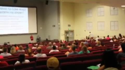 College lecture interrupted by prankster riding bike