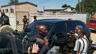 Bheki Cele greeting residents of Bloekombos