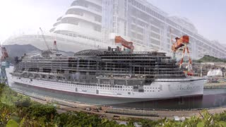 Cruise Ship Construction & Christening timelapse - Video