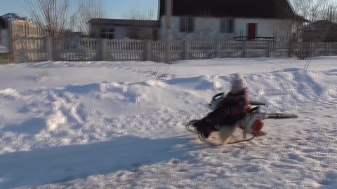 Leaf Blower Powered Turbo Snow Sled