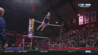 Polina Shchennikova (Michigan) 2017 Bars Big Ten Championships 9.8 - Video
