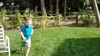 Collab copyright protection - little boy light blue slip n slide - Video