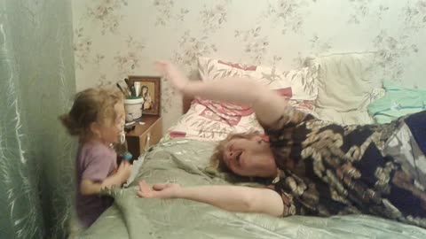 Shock! Granddaughter of 2 years old was mad at his grandmother.