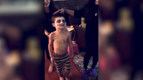 Boy Screams From Makeup Sister Puts On