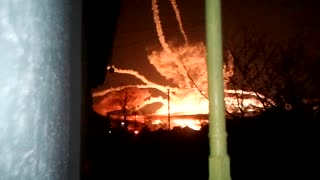 Ammunition Warehouse Explodes into the Night - Video