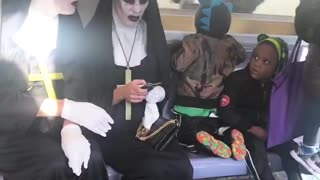 Two scary nun costumes train scared little kid dinosaur