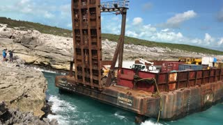 Barge Stranded on Long Island Bahamas - Video