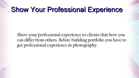 Olga Parno : Show Your Professional Experience in Photography