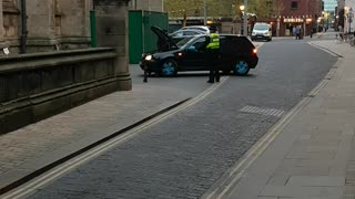 Delivery Driver Stuck to Safety Bollard