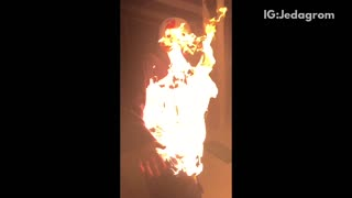 Banana foster guy lights self on fire football helmet